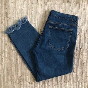 Bershka straight leg jeans with raw hemline detail